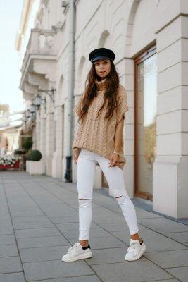 Kamizelka swetrowa z golfem LS312 kamel