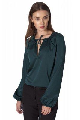 Satynowa bluzka w kolorze butelkowej zieleni - B128