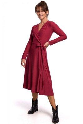 B184 Sukienka kopertowa z wiązaniem - wiśniowa