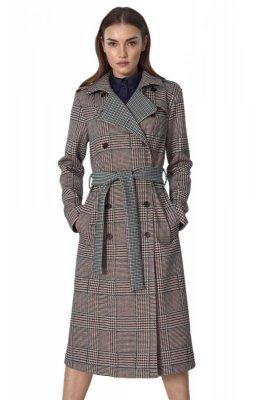 Dwurzędowy płaszcz z paskiem w pepitko - PL10