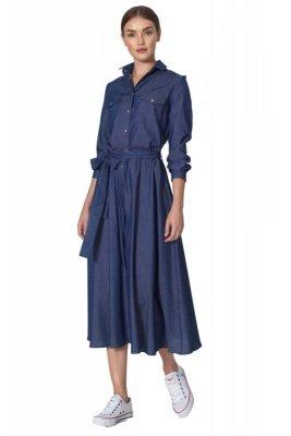 Jeansowa sukienka midi - S159