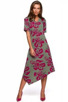 S232 Sukienka z asymetrycznym dołem - model 2