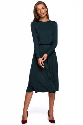 S234 Sukienka z rozkloszowanym dołem - ciemnozielona