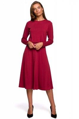 S234 Sukienka z rozkloszowanym dołem - wiśniowa
