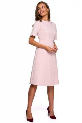 S240 Sukienka z dołem kopertowym - pudrowa