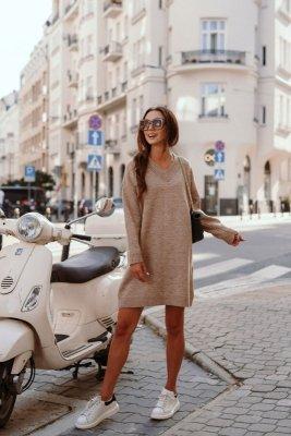 1 Swetrowa sukienka LS301 capucino PROMO