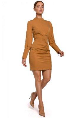 M546 Sukienka mini ze stójką - cynamonowa