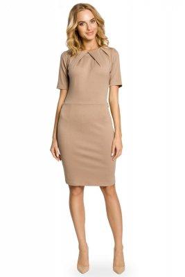 M013 Klasyczna elegancka sukienka ołówkowa - cappucciono