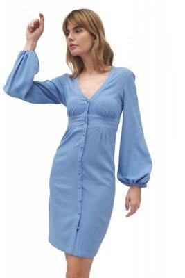 Niebieska sukienka z odcięciem pod biustem - S170