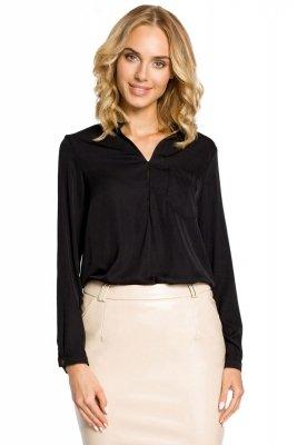 M063 Bluzka koszulowa ze stójka i kieszonką - czarna