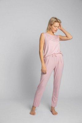 LA025 Spodnie do spania z wąskimi nogawkami - różowy