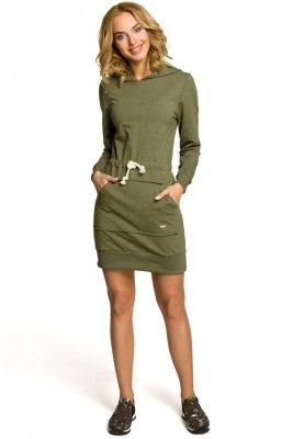 M116 Dresowa sukienka kangurka z kapturem - khaki