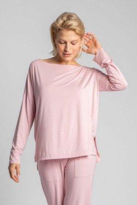 LA029 Wiskozowa bluzka z rozcięciami po bokach - różowy