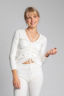 LA038 Bawełniana bluzka z szianiny prążkowanej - ecru