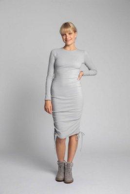 LA039 Bawełniana sukienka z szianiny prążkowanej - popielaty