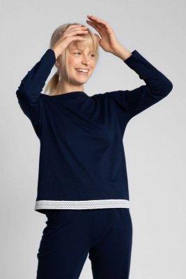 LA040 Bluzka od piżamy z koronkowym brzegiem - granatowy