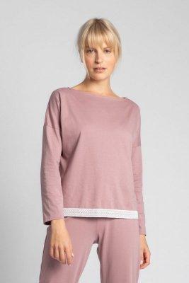 LA040 Bluzka od piżamy z koronkowym brzegiem - wrzosowy