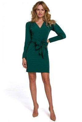 K082 Sukienka z wiązaną kokardą - zielona