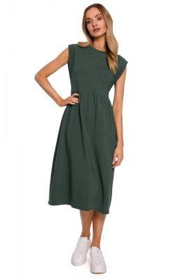 M581 Sukienka midi z ozdobnymi rękawami - khaki