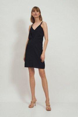 Czarna wiskozowa sukienka na ramiączkach  - S172