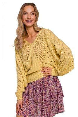 M595 Sweter z rękawami nietoperzowymi - żółty
