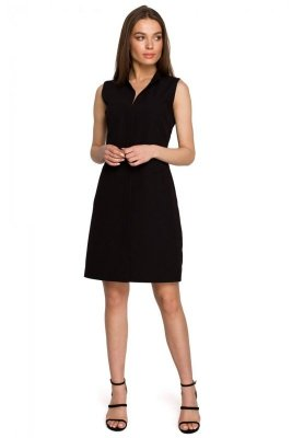 S258 Sukienka żakietowa bez rękawów - czarna