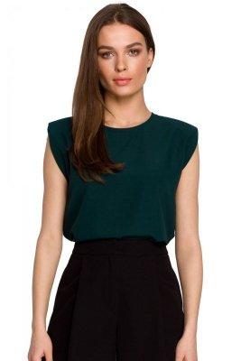 S260 Bluzka z poduszkami na ramionach - zielona