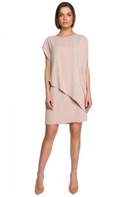 S262 Sukienka warstwowa - beżowa