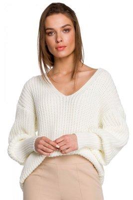 S268 Sweter w serek ze ściągaczem przy rękawach - ecru
