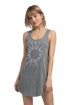LA050 Bawełniana koszulka nocna - szara