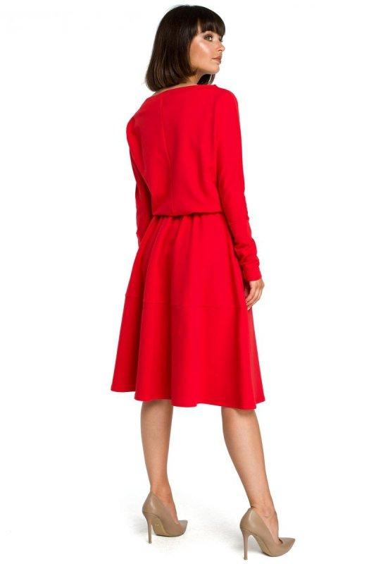 B087 Sukienka rozkloszowana - czerwona