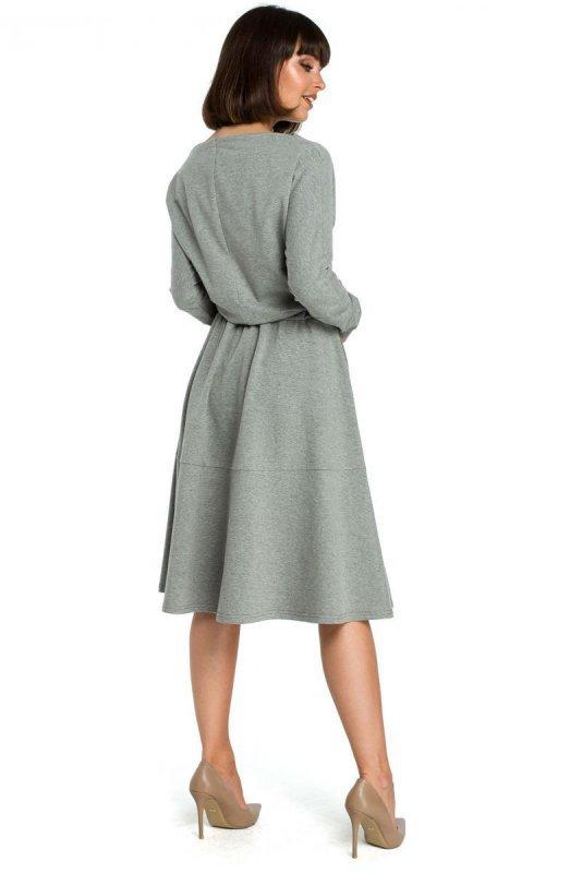 B087 Sukienka rozkloszowana - szara