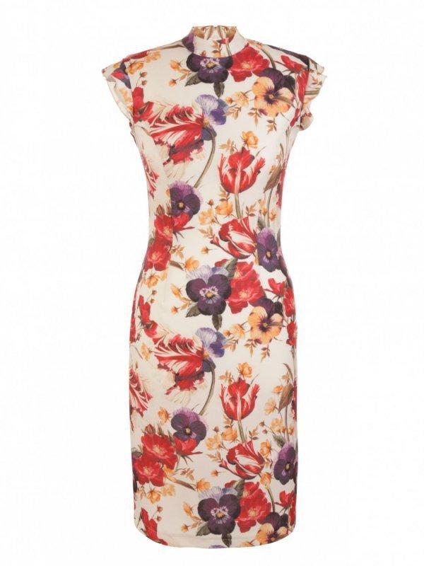Sukienka z falbankami na ramionach - kwiaty - S108
