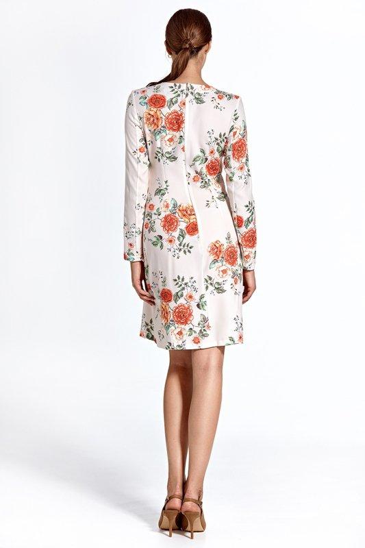 Sukienka cs25 - kwiaty/ecru - CS25