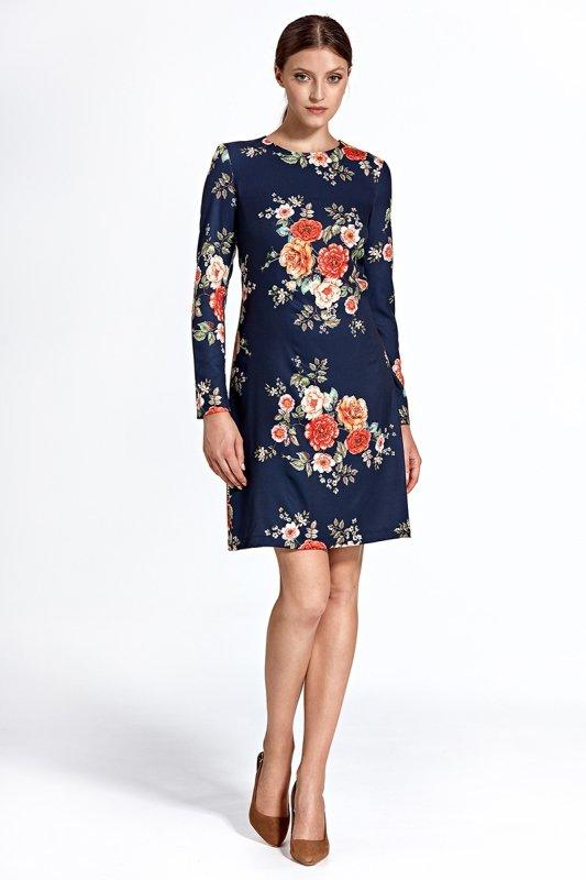 Sukienka cs25 - kwiaty/granat - CS25