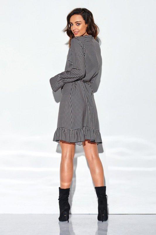Sukienka z falbanką i wiązaniem przy szyi wzór LG509 druk 6