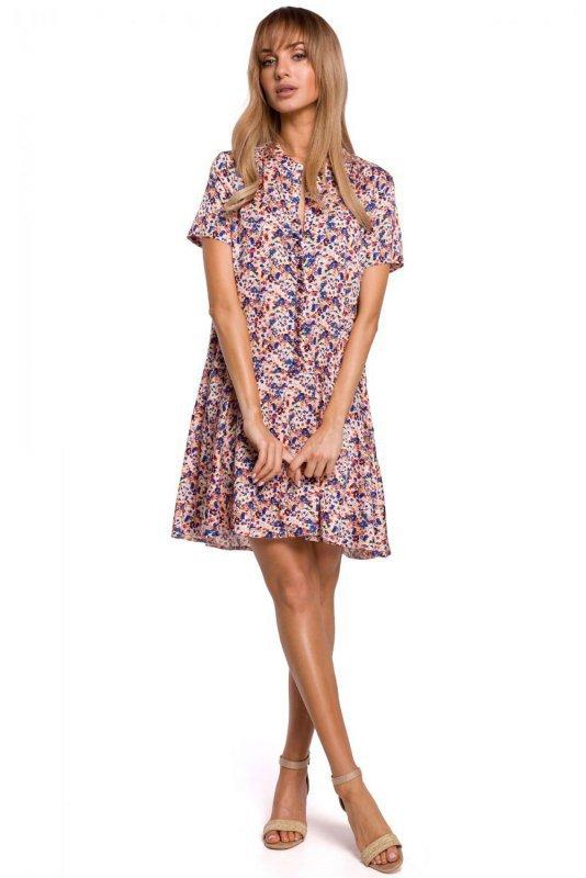M505 Zwiewna sukienka w kwiaty z falbaną - model 1