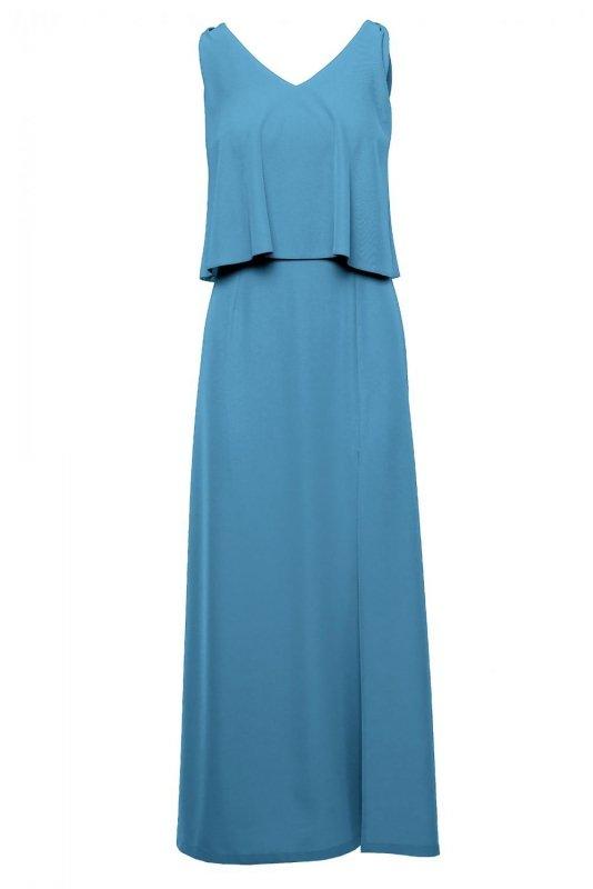 K048 Sukienka maxi z falbaną u góry - zimny niebieski