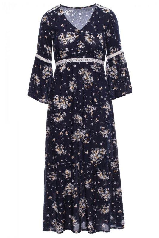 S222 Sukienka maxi w kwiaty z koronkowymi wstawkami - model 4