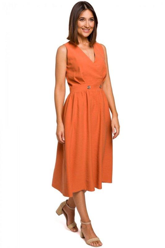 S224 Sukienka bez rękawów z rozkloszowanym dołem - pomarańczowa