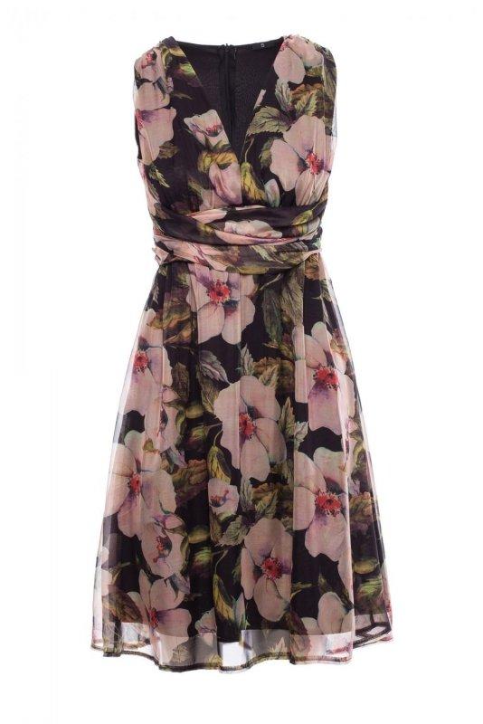 S225 Sukienka szyfonowa bez rękawów i z dekoltem - model 3