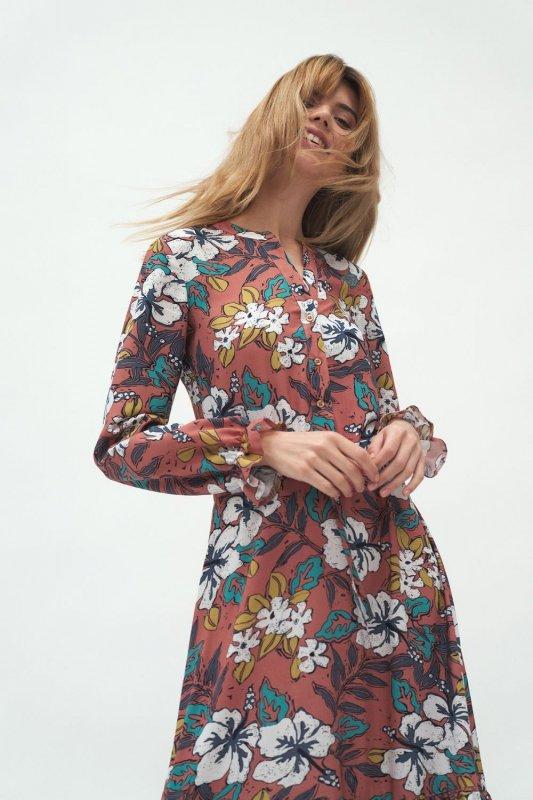 Długa sukienka w kwiaty - S168