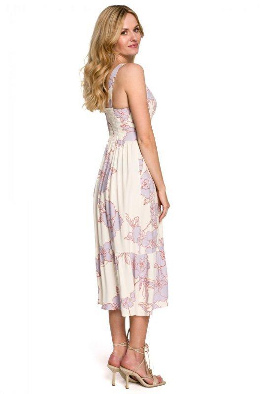 K098 Sukienka midi bez rękawów - model 3