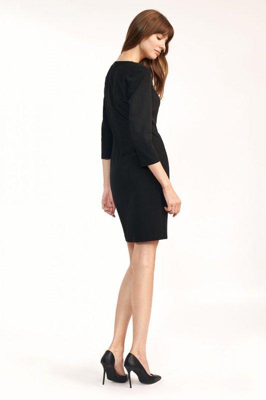 Dopasowana czarna sukienka mini  - S185