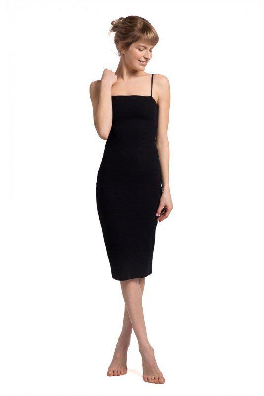 LA062 Sukienka na cienkich ramiączkach - czarna