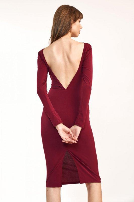 Bordowa sukienka z wycięciem na plecach - S191