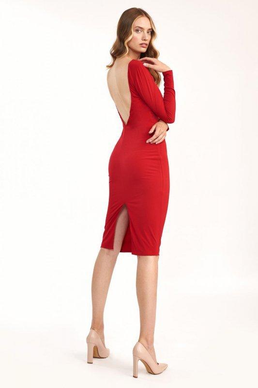 Czerwona sukienka z wycięciem na plecach - S191