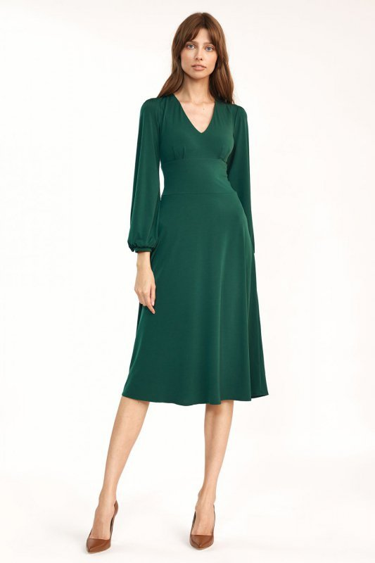 Klasyczna zielona sukienka midi - S194