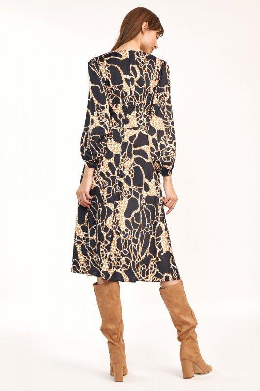 Sukienka midi we wzór safari - S190