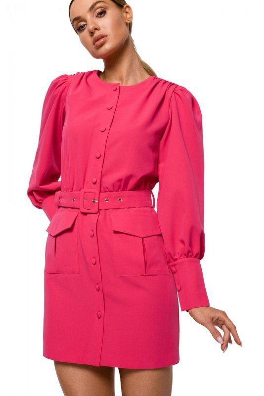 M605 Sukienka z kieszeniami - różowa